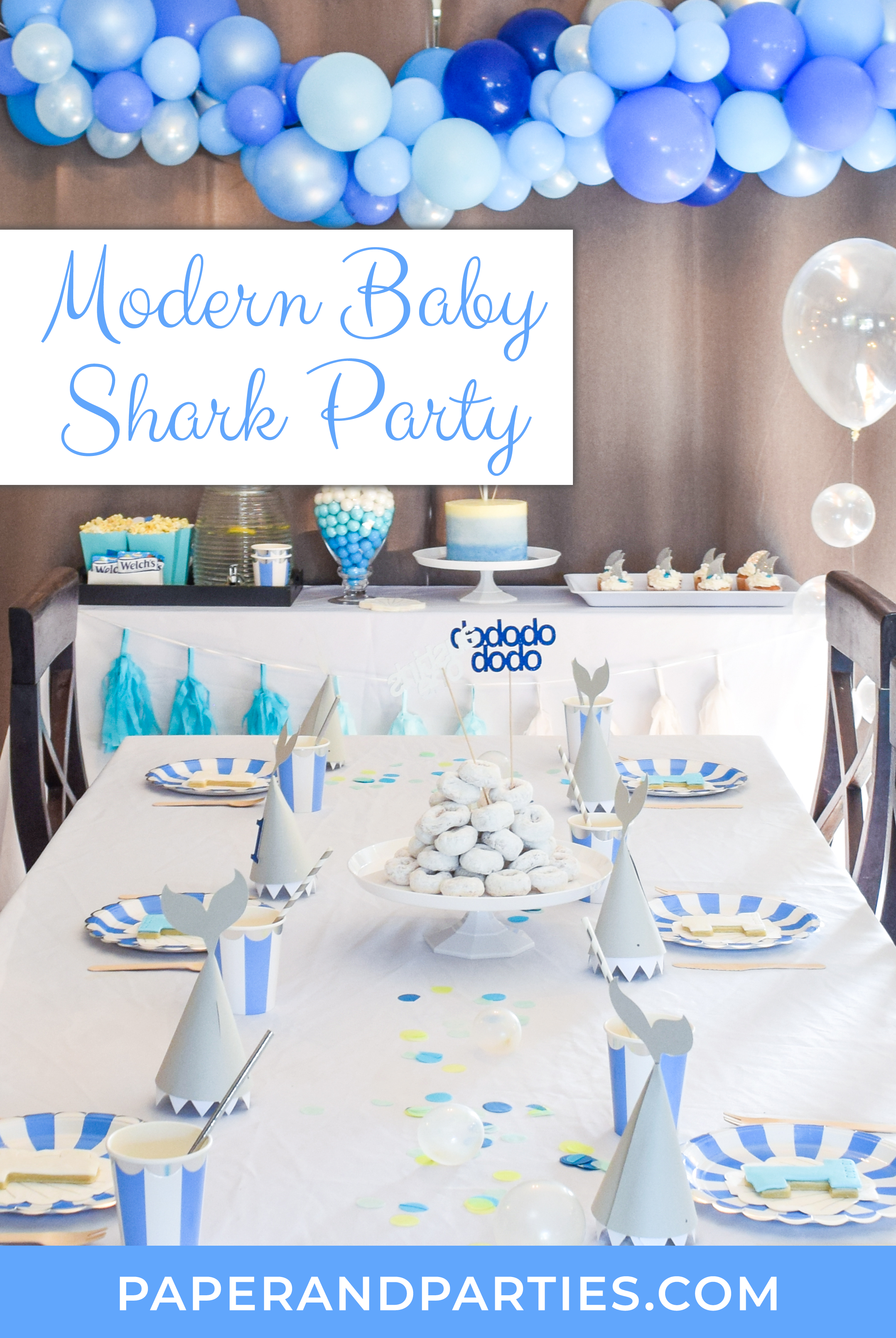 Modern Baby Shark Theme First Birthday Party Shark Themed