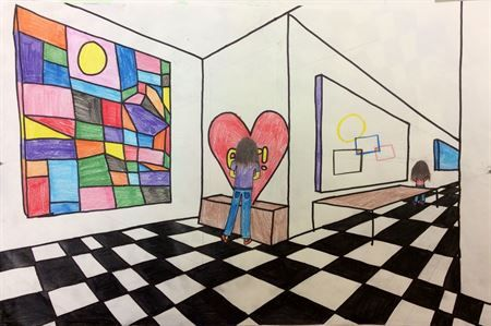 2 point perspective museums. Each kid picks a famous artist and uses ...
