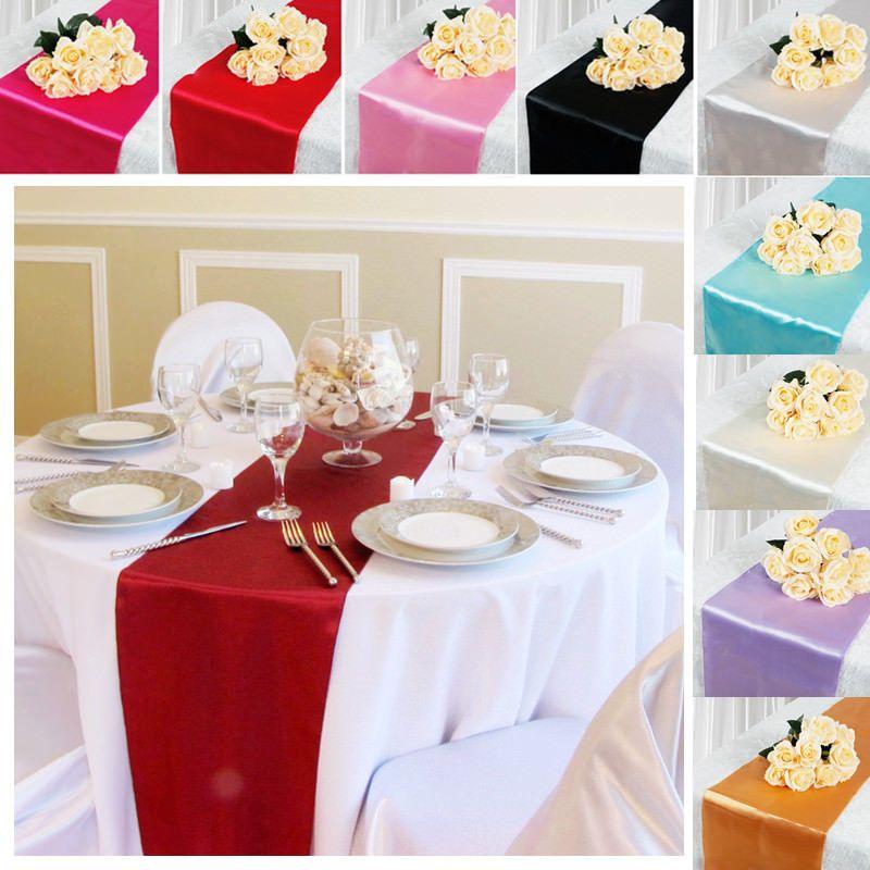 "108/""x12/"" Satin Table Runner Wedding Party Banquet Venue Home Decoration Supplies"