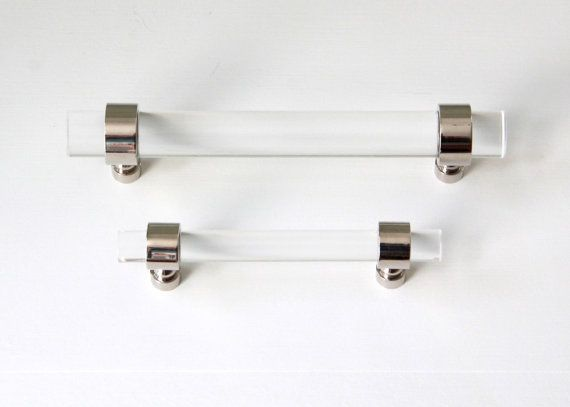 Beautiful Polished Nickel Or Chrome Drawer Pull   Lucite Cabinet Handle