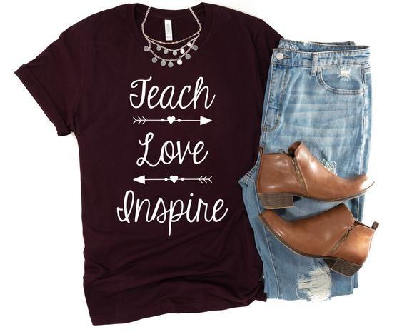 Teach Love Inspire Teacher Shirt  Teacher Love Shirt    Etsy