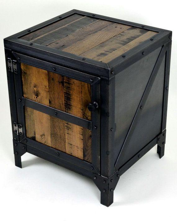 Industrial mesa mueble mesa mesita de noche de lado | 1 | Pinterest ...