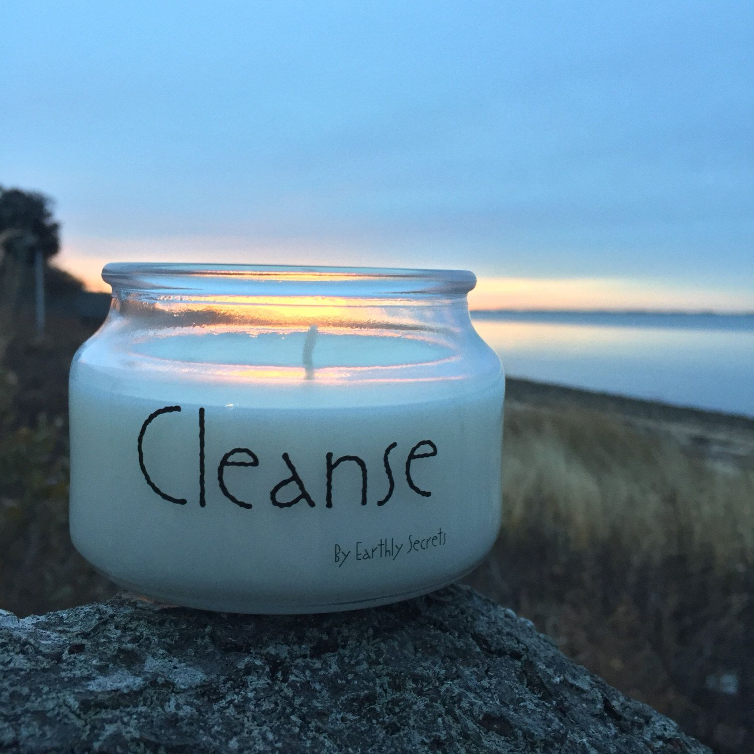 Cleanse clear quartz crystaltherapy 8 oz candle