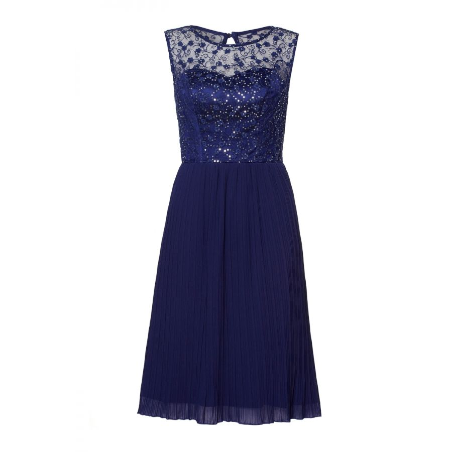 Navy and silver sequin lace pleat dress fashîôn pinterest