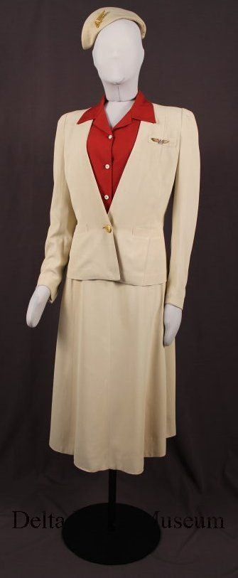 Delta Air Lines stewardess uniform with cap and pins 1940