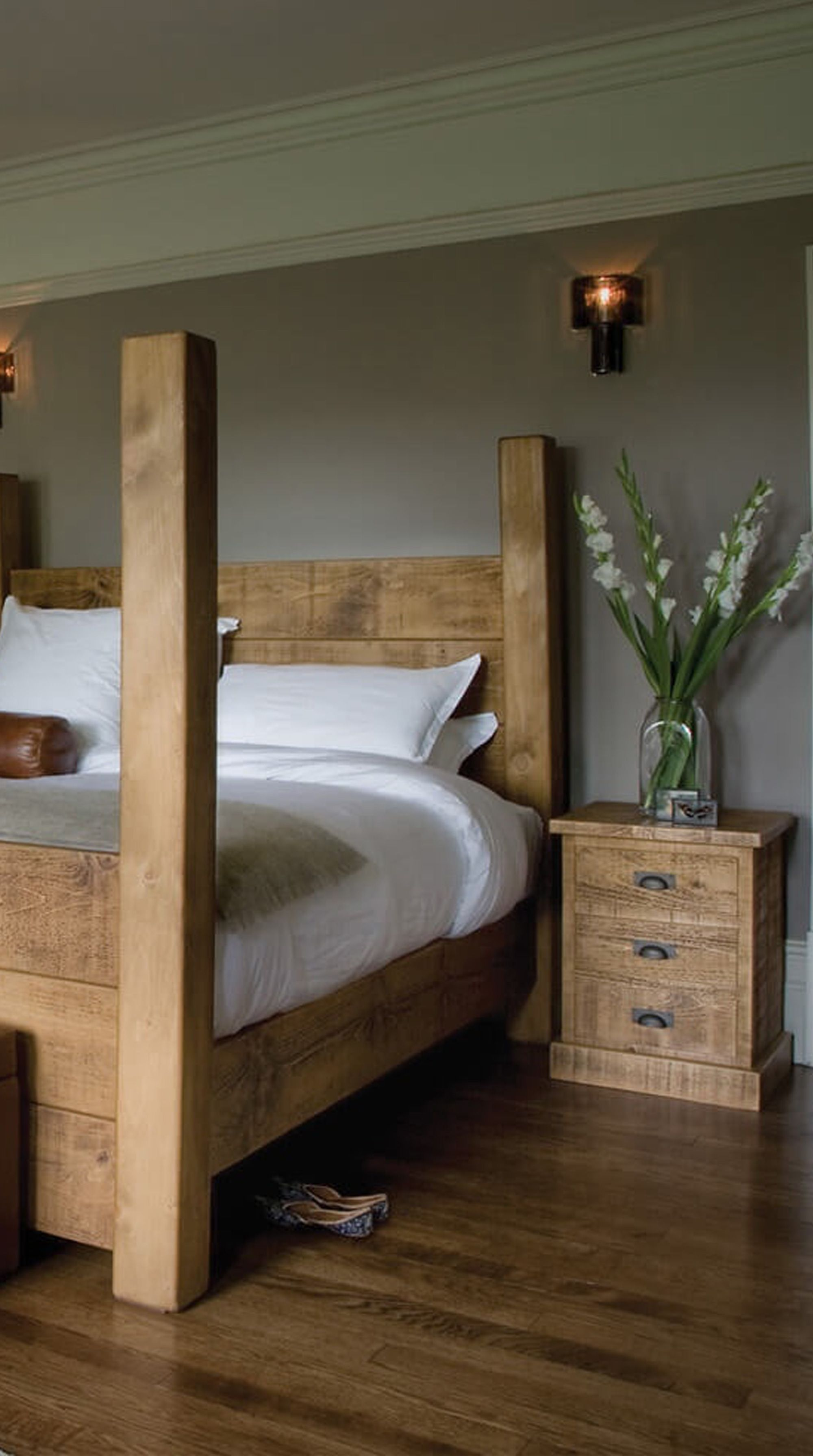 Indigo Merchant\u0027s Four Poster Plank Bed, an imposing piece which ...