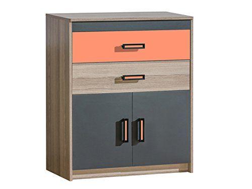 Kommode Timo mit zwei Türen und zwei Schubladen Esche Dunkel/Orange
