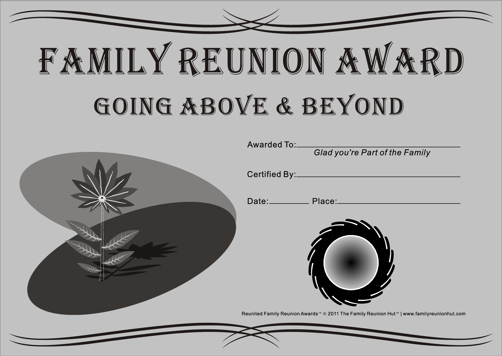 Family reunion ideas family reunion certificates for Free family reunion certificates templates