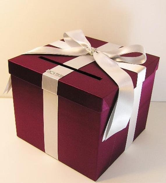 weddingquinceañerasweet 16 card box burgundy and silver
