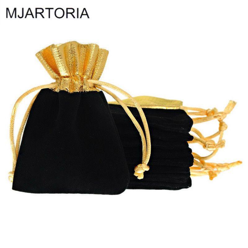 50pcs Wholesale Drawstring Bags 7x9cm Black Velvet Cloth Jewelry Pouches