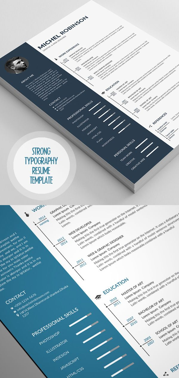 Strong Typography Resume Template | Resume samples | Pinterest ...