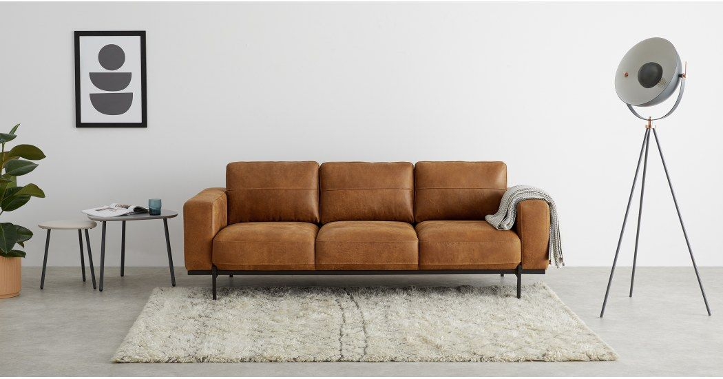Jarrod 3 Seater Sofa Outback Tan Leather Made Com 2 Seater Sofa 3 Seater Sofa Small Sofa