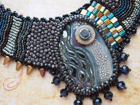 Bead Embroidery Necklace Raku River