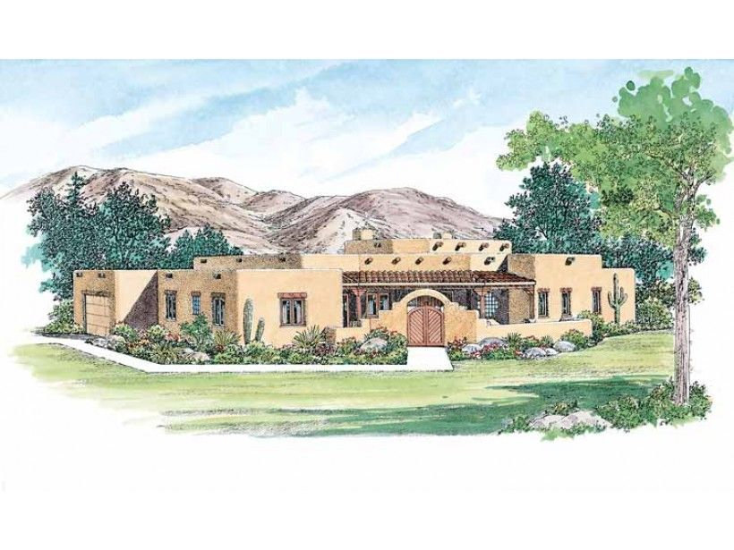 eplans adobe house plan expansive great room 2226 square feet and 3 bedrooms from eplans house plan code - Spanish House Plans With Adobe Courtyards