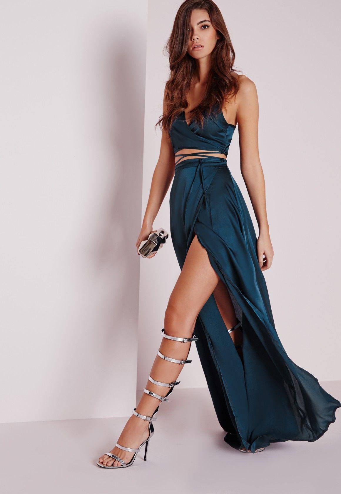 Long dark green dress  Satin Wrap Maxi Skirt Teal  Skirts  CoOrds  Missguided  dresses