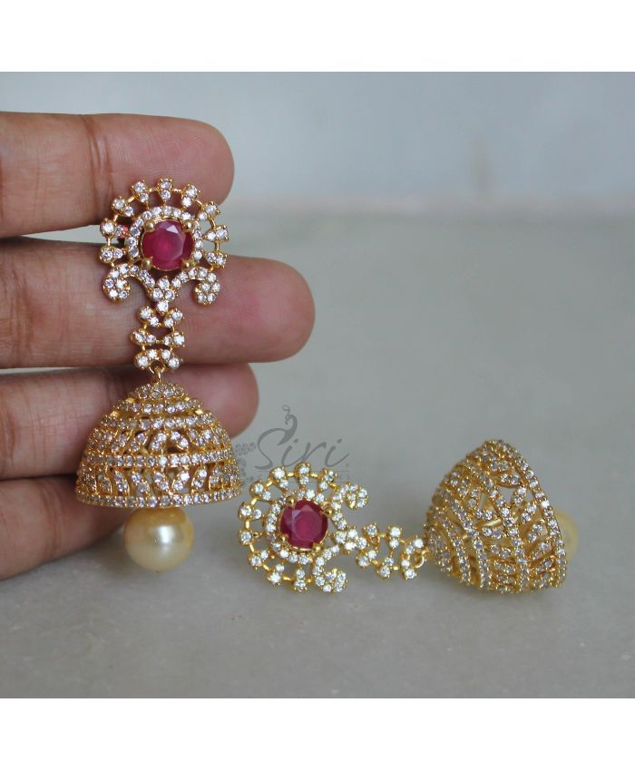 AD Ruby Designer Beautiful Jhumki Earrings | Fashion Jewellery ...