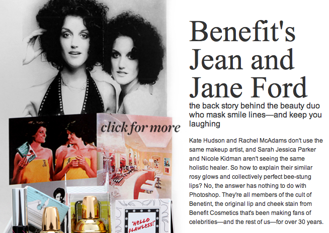 Jean And Jane Ford Twin Sisters In Business Together The Benefit Makeup Twins Benefit Makeup Makeup Benefit Cosmetics