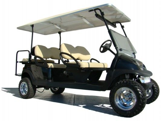 The Big Daddy Of All Stretch Limo Golf Cars This 48v Electric Stretch Limo Club Car Precedent Is Equipped With Seating Golf Carts Club Car Golf Cart Golf Car
