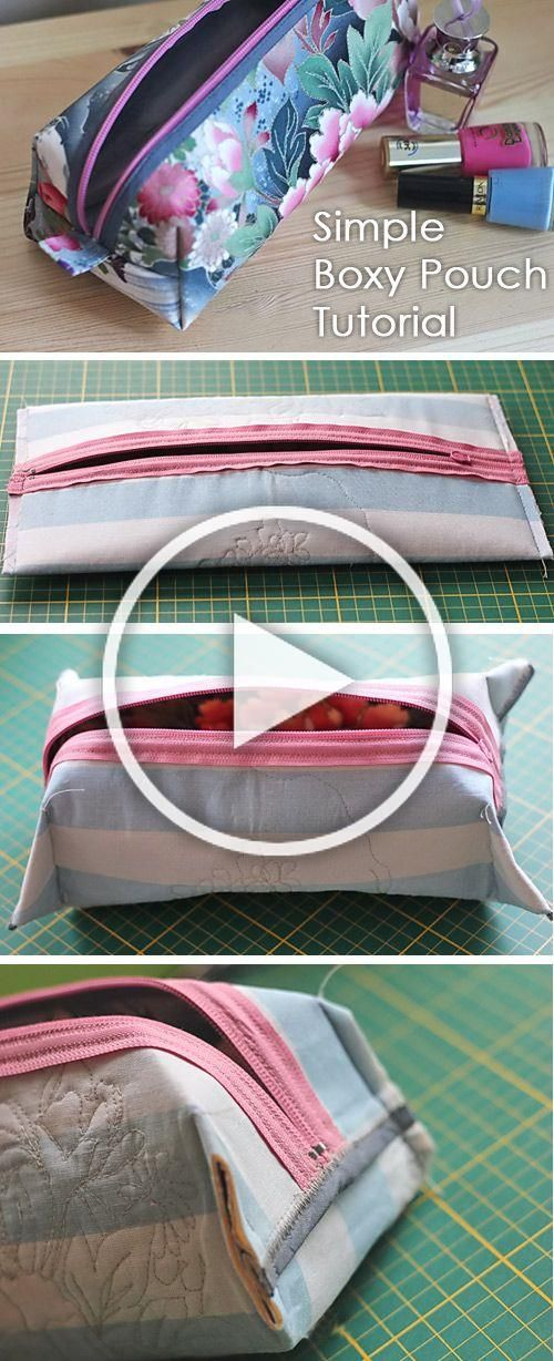 Simple Boxy Pouch  How to sew for beginners Sewing ideas Step by step illustration tutorial