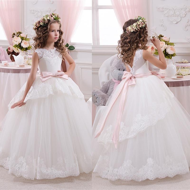 Branco marfim bloemenmeisjes jurk Crianças Primeira Comunhão Vestidos para Meninas 2016 vestido de Baile Rosa Cinto Elegante Vestido Da Menina Flor