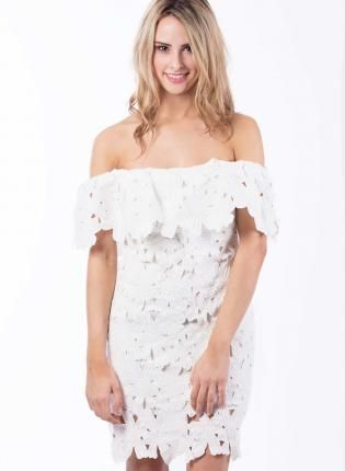 Off the Shoulder Floral Lace Dress,  Dress, off shoulder  floral  lace  dress, Chic #white #lace #floral #offshoulder #summer #fashion #love #cute #need #fashion #summerfashion #ootd www.UsTrendy.com