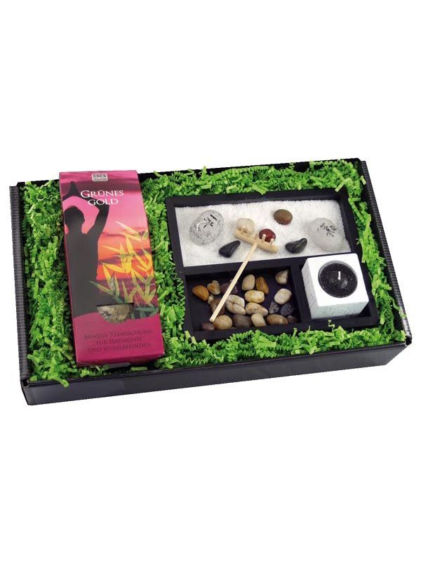 geschenk set zum wohlf hlen und entspannen mit tee und zen garten anleitungen. Black Bedroom Furniture Sets. Home Design Ideas