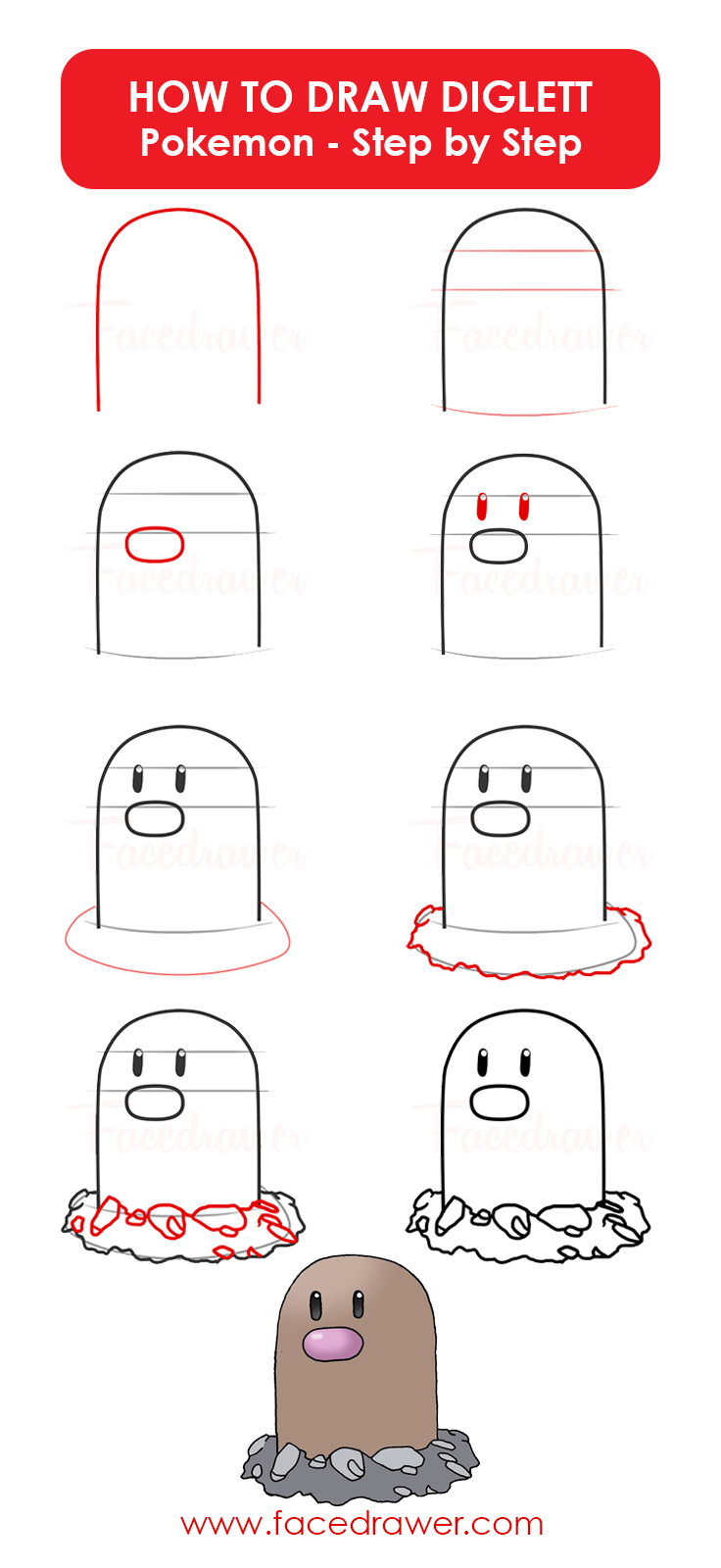 Diglett Is Your Favourite Pokemon Learn How To Draw This Very Cute Diglett Just Follow Along The Easy Easy Pokemon Drawings Cute Easy Drawings Learn To Draw