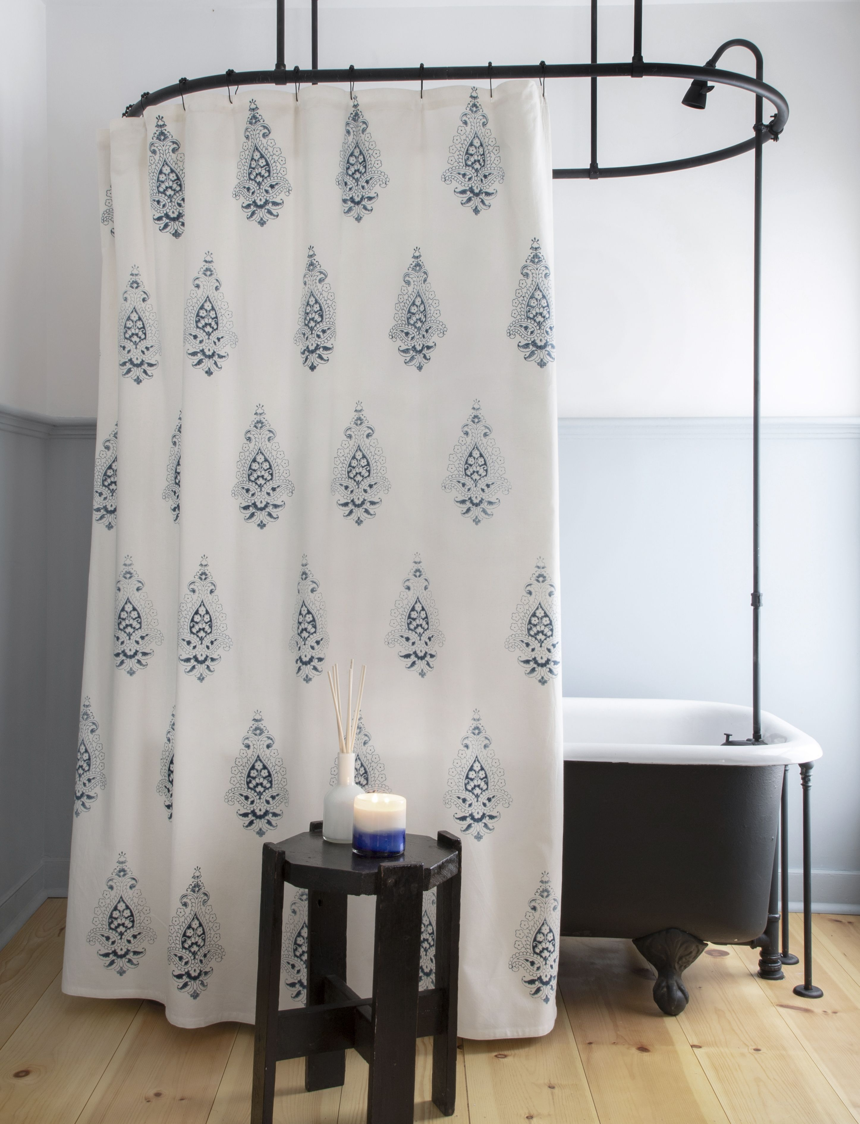 Emma Shower Curtain In Indigo With Images Curtains Shower