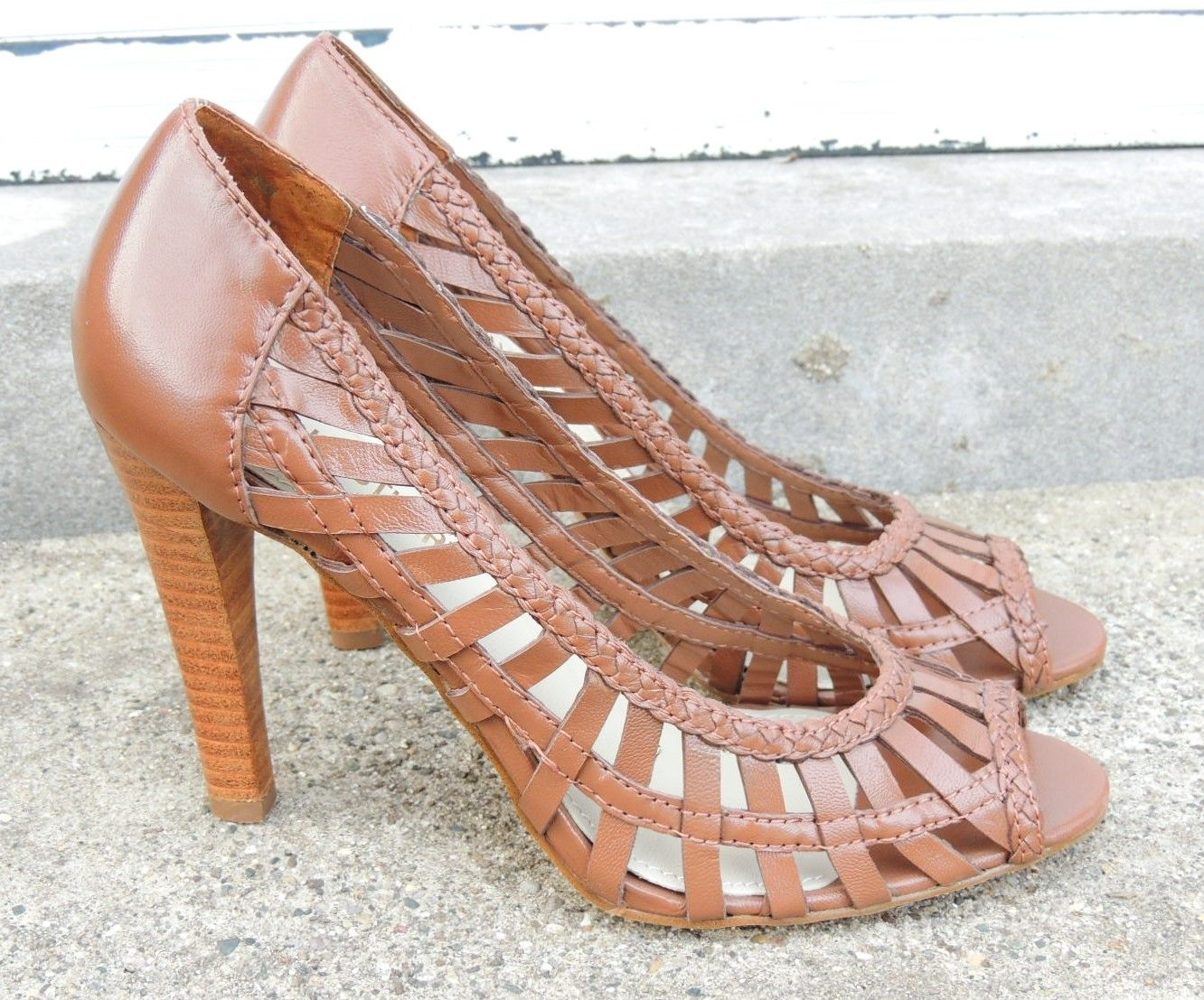 Vintage Colin Stuart Brown Leather Peep Toe High Heels/Brown Perforated all Leather Size 8M Shoes/Women Leather 4 inch heel Open Toe Shoes