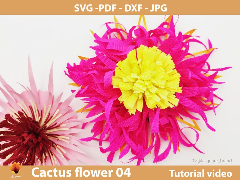CTF 04  Giant Paper flowers SVG, paper flower template Pdf, paper flower center, leaf template DXF Png Jpg for cricut silhouette