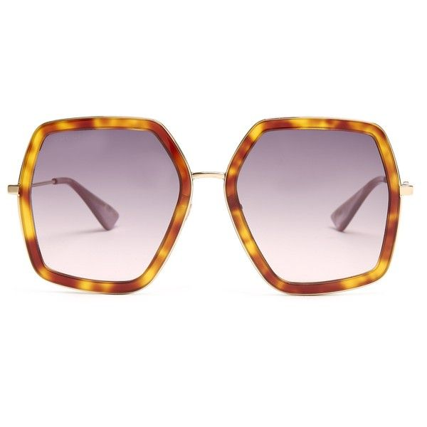 d75988cf94 Gucci Oversized hexagon-frame sunglasses ( 320) ❤ liked on Polyvore  featuring accessories