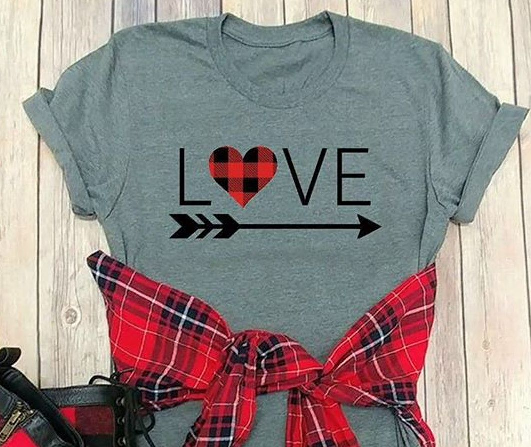 Red Buffalo Plaid Love Shirt Personalized T Shirts Valentines Shirt Vinyl Shirts