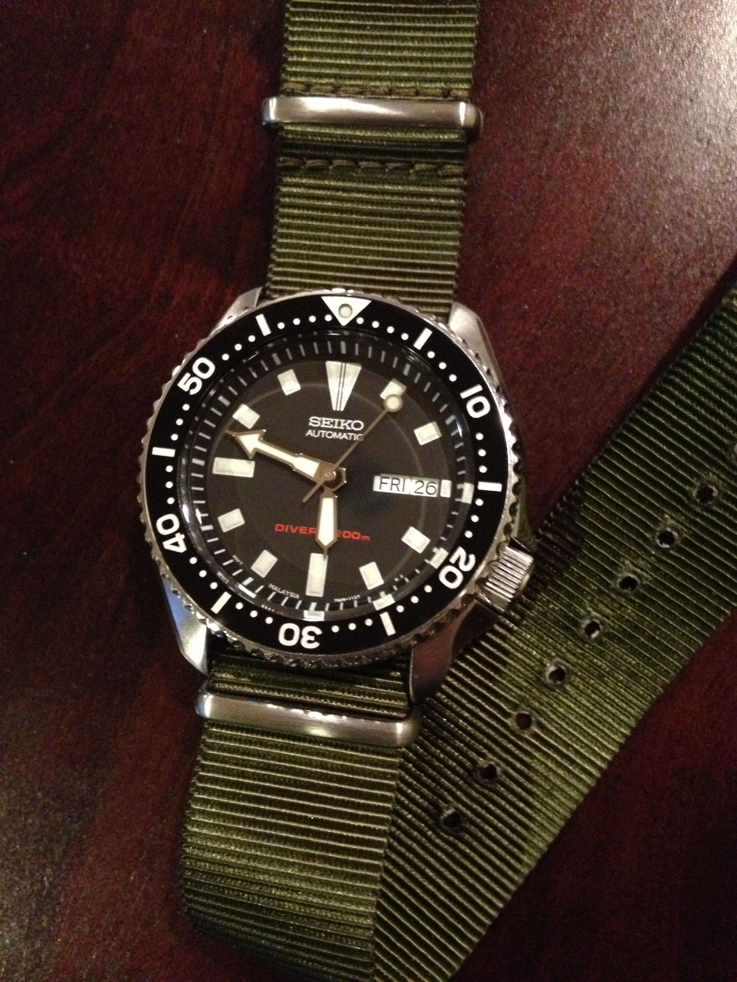 431ddfdf6c7 Seiko SKX173 on olive NATO strap. My newest watch! I will pass this watch  on to my kids someday.