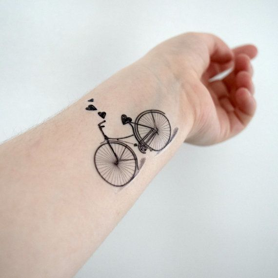 Temporary tattoo bicycle hearts bike vintage for her by for Removal of temporary tattoos