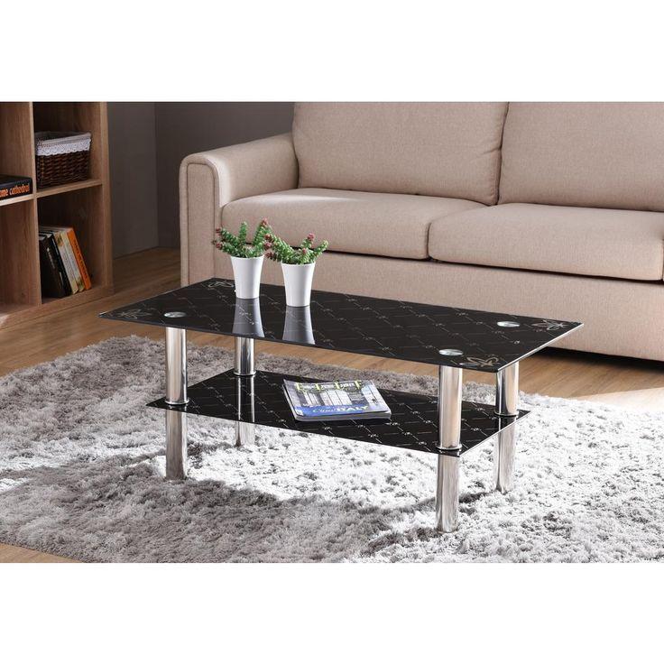 Schwarzer Rechteckiger Couchtisch Aus Gehartetem Glas Mit 2 Ebenen Und Verchromten Beinen Beinen C Coffee Table Black Coffee Tables Rectangular Coffee Table
