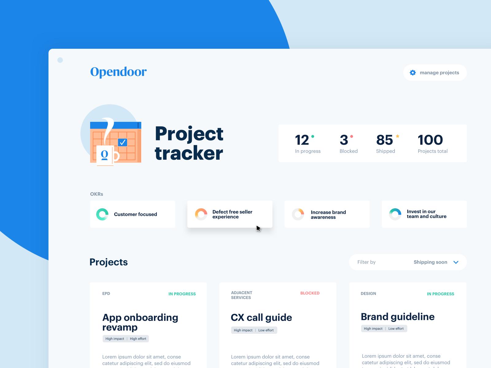 Project tracker dashboard