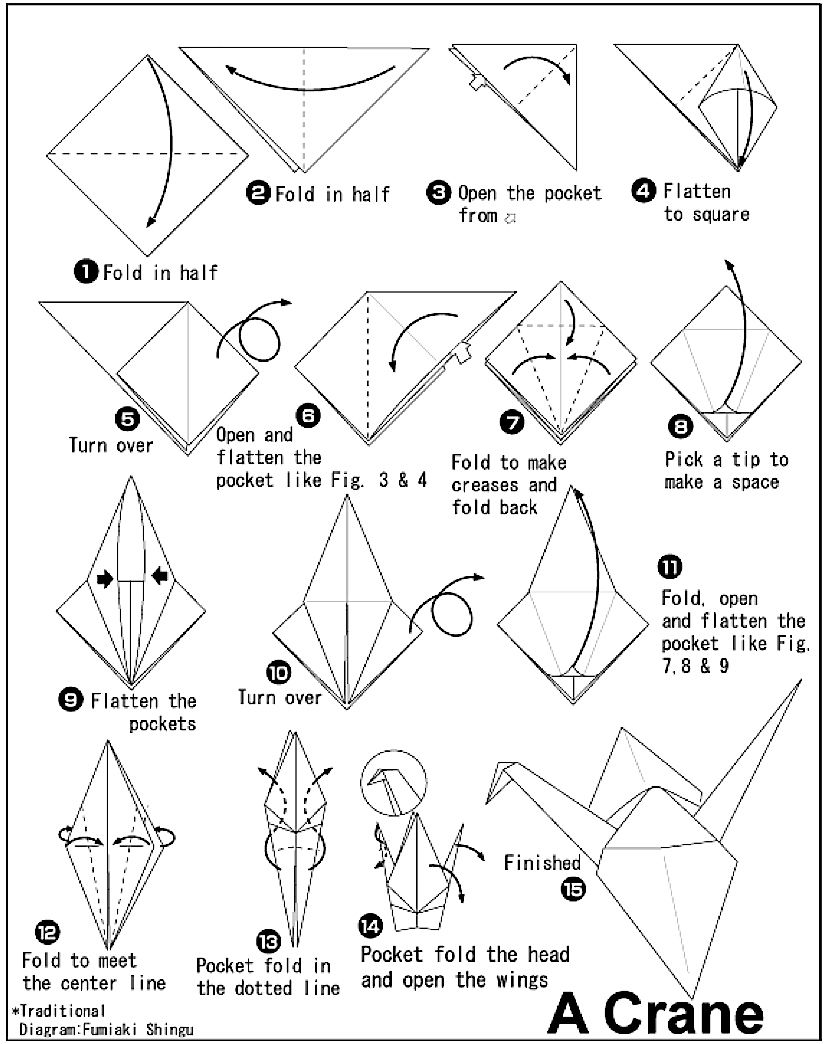 Origami Paper Crane Diagram Whirlpool Electric Range Wiring 4 Instructions Coloring Pages Pinterest