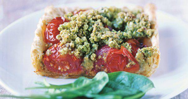 Tarte de tomates cerises, crumble au pesto | Recettes de ...