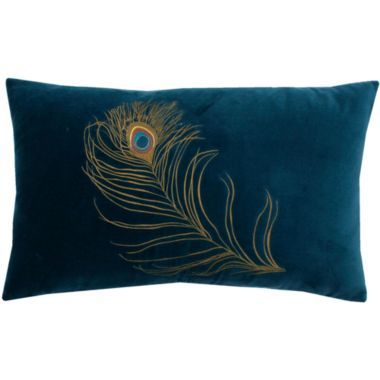 Peacock Feather Oblong Decorative Pillow Home Peacock