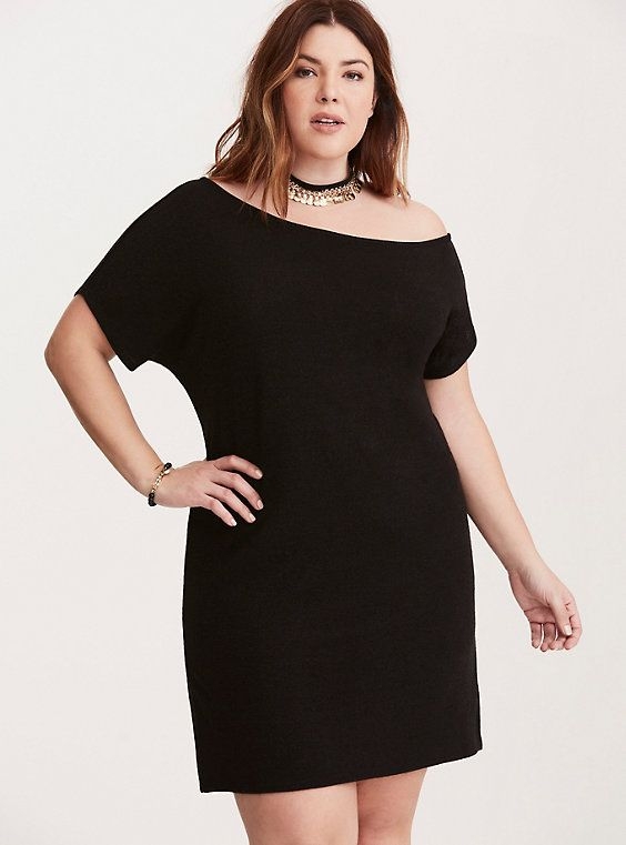 Hacci Knit Off Shoulder Sweater Dress Deep Black Big And