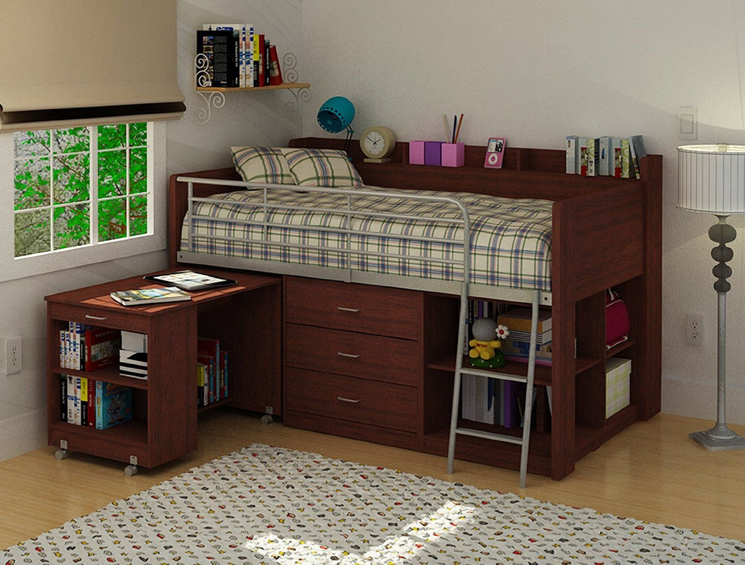 Portrayal Of Wooden Loft Bed With Desk Most Recommended Space