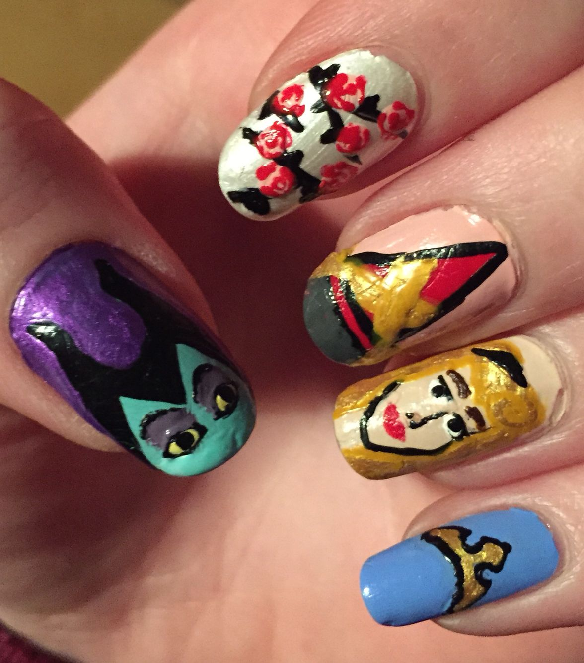 Sleeping Beauty Aurora Maleficent nail art | Nail Art | Pinterest