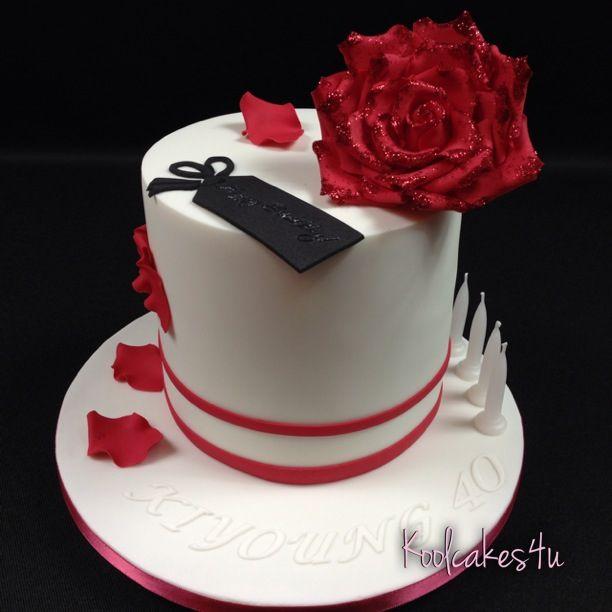 Big beautiful red rose birthday cake Koolcakes4u Cakes by Jen