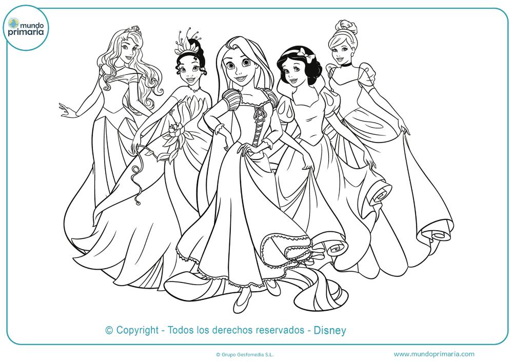 Dibujos De Disney Para Colorear Mundo Primaria Princesas Para Colorear Colorear Princesas Colorear Princesas Disney