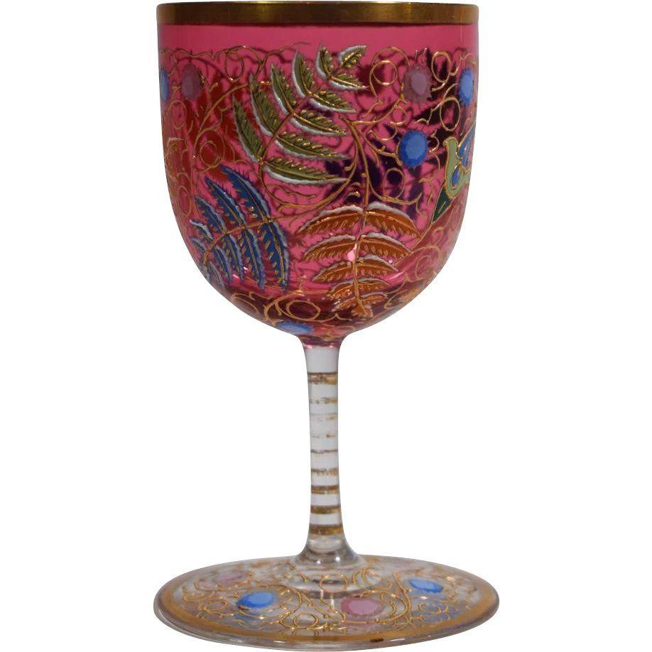 Moser Raised Gold And Enamel Stemmed Wine Glass Found At Www Rubylane Com Vintagebeginshere Winewednesday Vintage Wine Glasses Wine Glass Vintage Wine