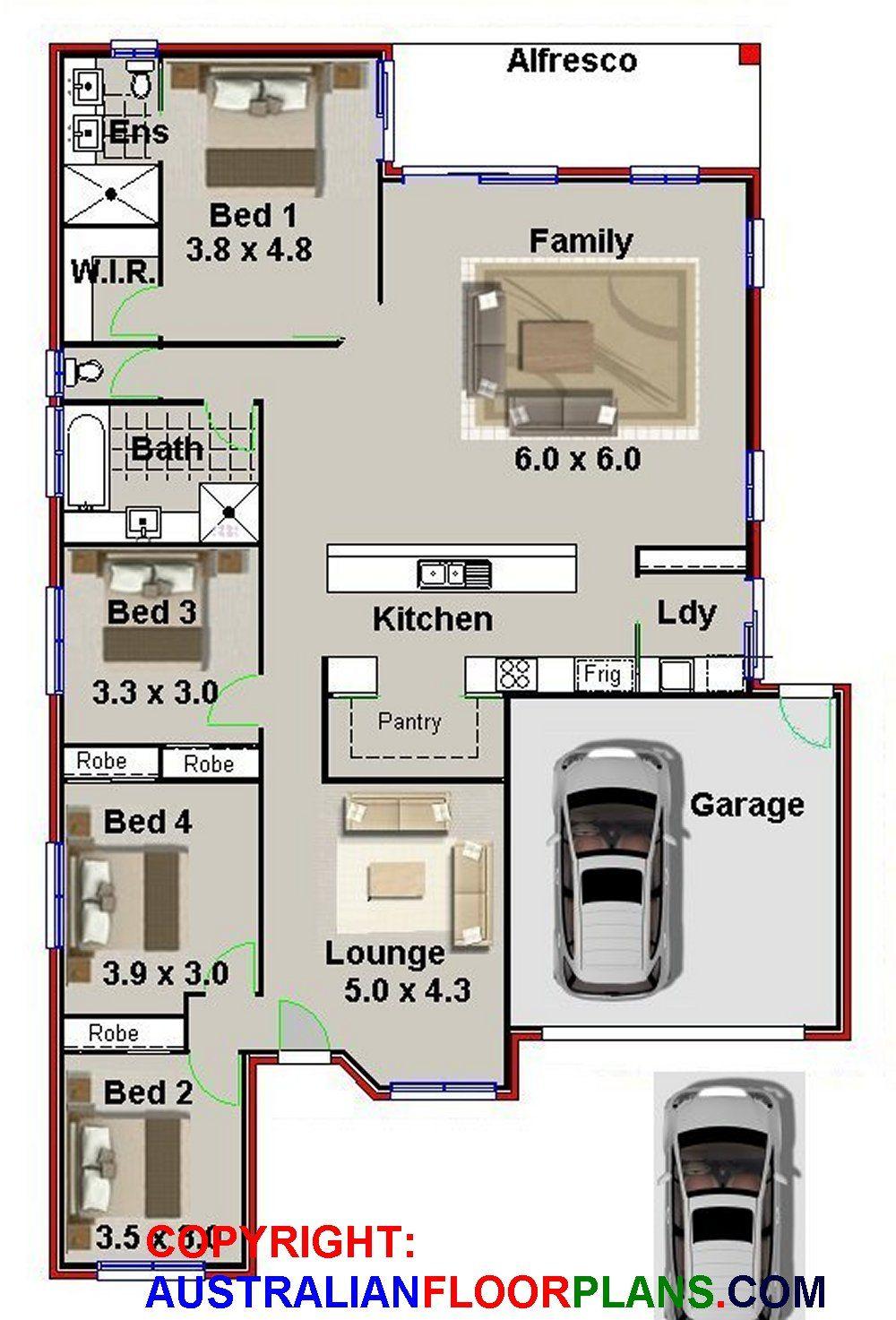227nb Modern Australian 4 Bed Garage 226 19 M2 Preliminary House Plans Four Bedroom House Plans House Plans Australia Family House Plans