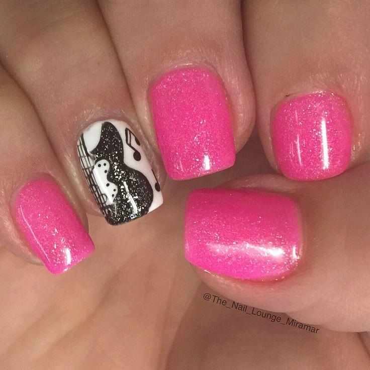 nice Rock guitar Music note nail art design. - Nice Rock Guitar Music Note Nail Art Design... Musical Nail Art