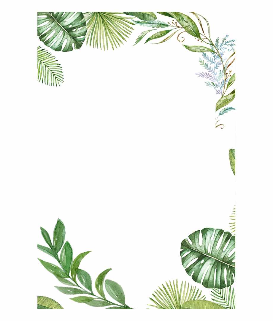 Plants Tropical Jungle Leaves Border Frame Ftestickers - Tropical Leaves Png - Transparent PNG Download - 667x1000 - Free Download on VipPng