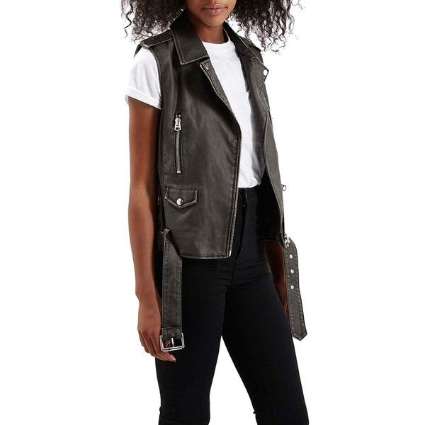 Topshop'Sylvia'Faux Leather Moto Vest (€80) ❤ liked on Polyvore featuring outerwear, vests, black, black waistcoat, fake leather vest, black vest, faux leather vest et pocket vest