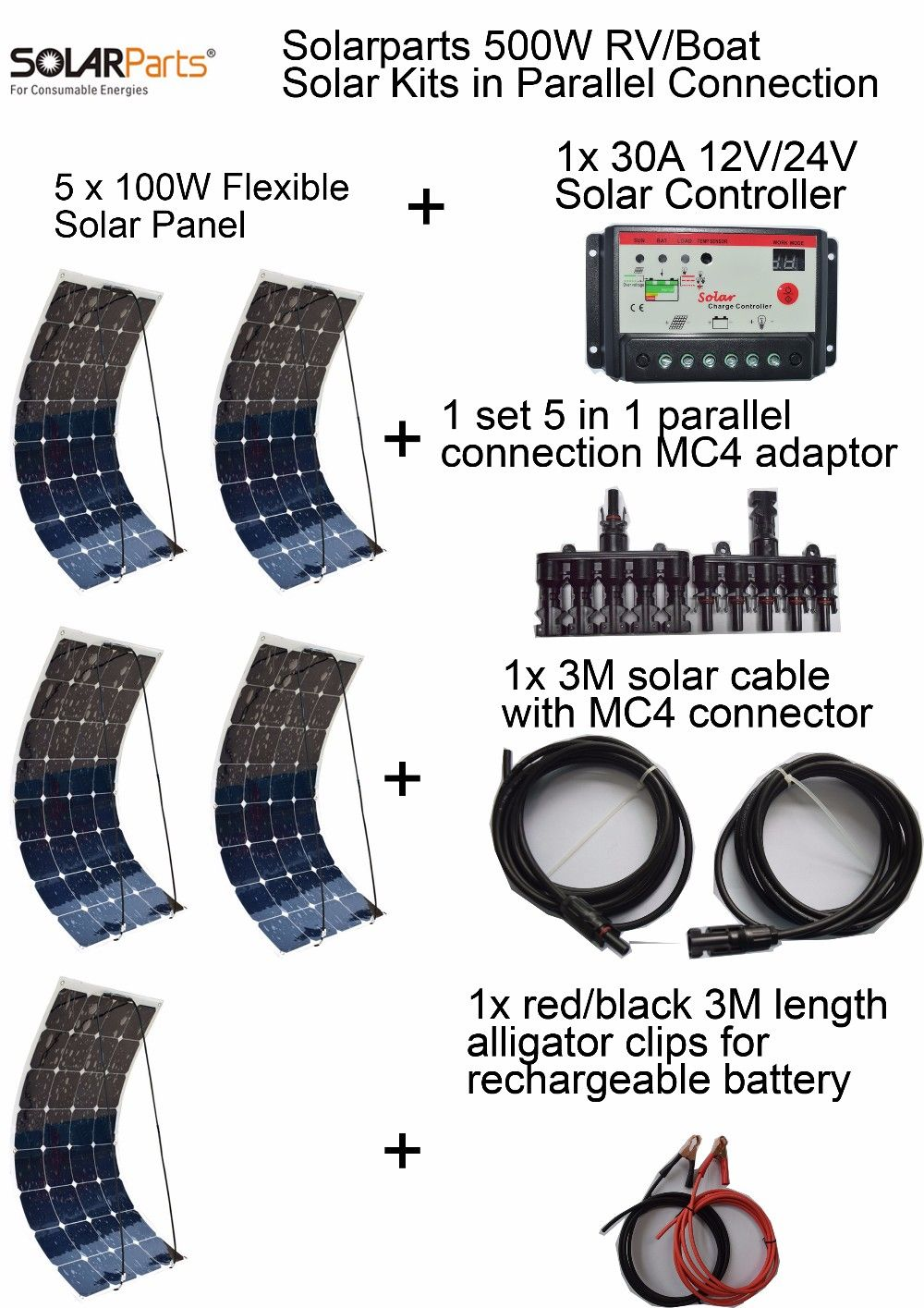 Solarparts Standard Kits 500w Diy Rv Boat Kits Solar System 100w Flexible Solar Panel Controller Cable Outdoor Lig Flexible Solar Panels Solar Kit Solar Panels